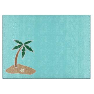 Palm Tree Tropical Island Beach Cartoon Cutting Board
