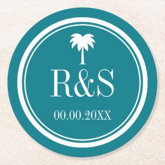Palm tree turquoise blue monogram wedding coasters