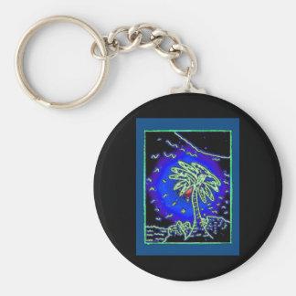 Palm tree w/ blue background basic round button keychain