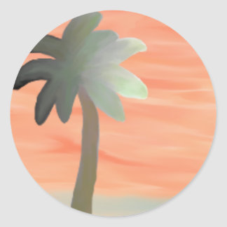 Palm Tree Watercolor Classic Round Sticker
