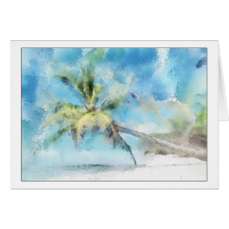 Palm Tree Watercolor Greeting Card