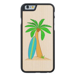 Palm Tree with Surfboard Carved Maple iPhone 6 Case