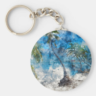 Palm Tree with Swing in Watercolor Basic Round Button Keychain