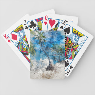 Palm Tree with Swing in Watercolor Bicycle Playing Cards