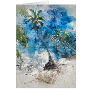 Palm Tree with Swing in Watercolor Card