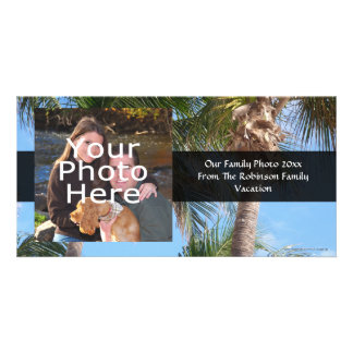 Palm Trees Against Blue Sky Personalized Photo Card