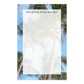 Palm Trees Against Blue Sky Personalized Stationery