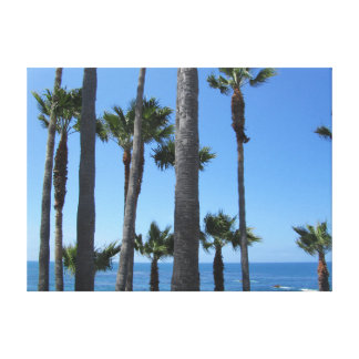 Palm trees and a view on the Pacific Ocean Canvas Print