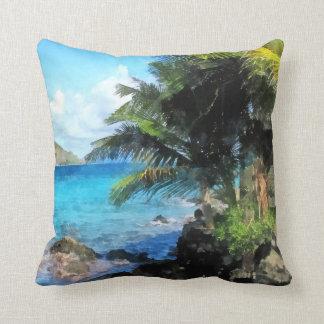 Palm Trees and Beach St. Thomas VI Throw Pillow