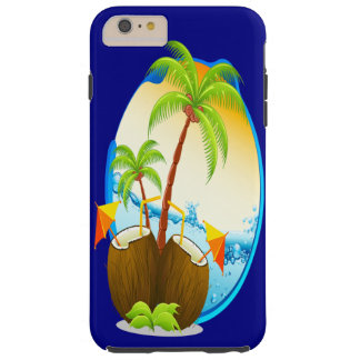 Palm Trees and Coconut Drinks Tough iPhone 6 Plus Case