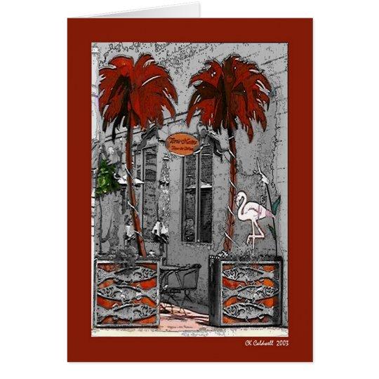Palm Trees and Flamingo Card