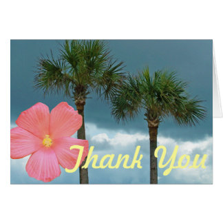 Palm Trees and Hibiscus Thank You Card