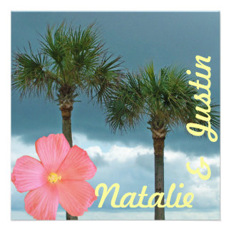 Palm Trees and Hibiscus Tropical Save the Date Custom Invite