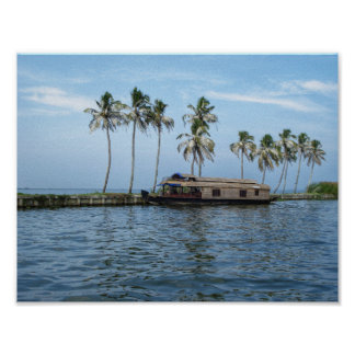Palm trees and houseboat in color 2 poster