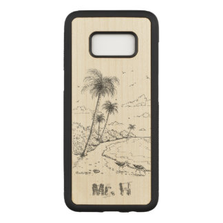 Palm Trees and Sandpiper Beach Life Carved Samsung Galaxy S8 Case