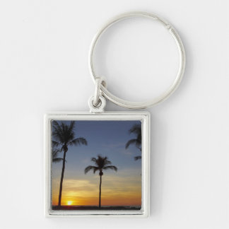 Palm trees and sunset, Mindil Beach Silver-Colored Square Keychain