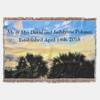 PALM TREES AND SUNSET PERSONALIZED WEDDING BLANKET THROW BLANKET