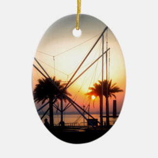 palm trees and trampolin ceramic ornament
