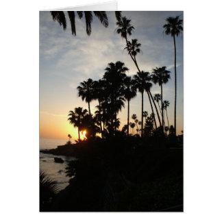 Palm trees at Laguna sunset card (v)