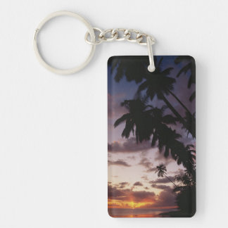 Palm Trees at sea Double-Sided Rectangular Acrylic Keychain
