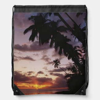 Palm Trees at sea Drawstring Bag