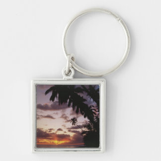 Palm Trees at sea Silver-Colored Square Keychain