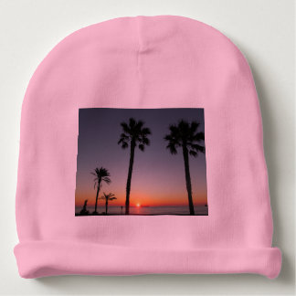 Palm trees at sunset baby beanie