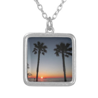 Palm trees at sunset silver plated necklace
