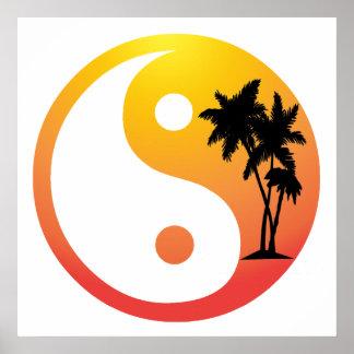 Palm Trees at Sunset Yin Yang Poster Print