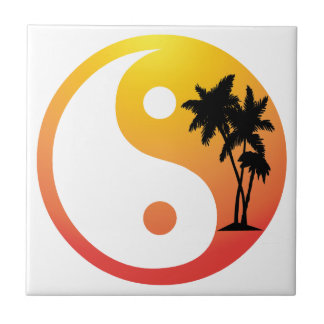 Palm Trees at Sunset Yin Yang Tile
