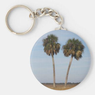 Palm Trees Basic Round Button Keychain