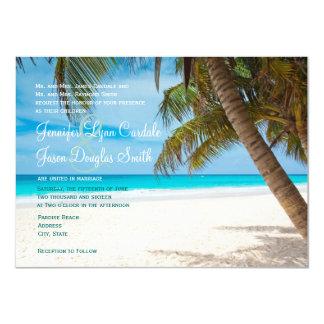 "Palm Trees Beach Destination Wedding Invitations 4.5"" X 6.25"" Invitation Card"
