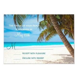 "Palm Trees Beach Destination Wedding RSVP Cards 3.5"" X 5"" Invitation Card"