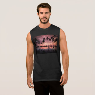 Palm Trees Behind A Deep Sunrise Sleeveless Shirt
