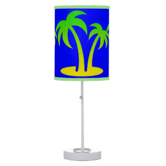 Palm Trees Blue Table Lamp