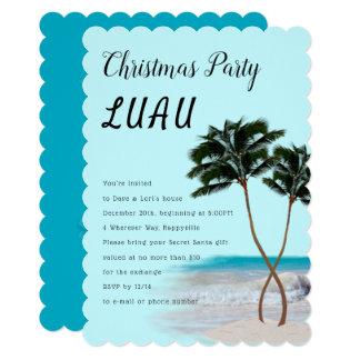 Palm Trees Christmas Luau Party Invitation