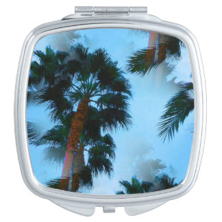 Palm trees compact vanity mirrors