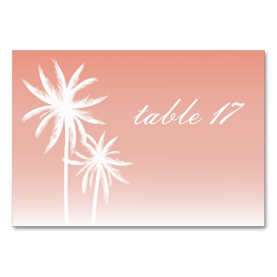 Palm Trees Coral Wedding Table Number Card
