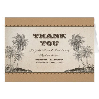 palm trees destination wedding thank you card