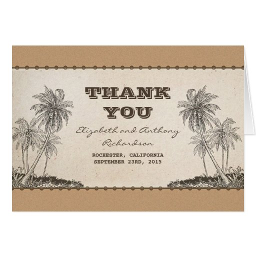 palm trees destination wedding thank you cards