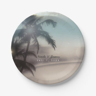 Palm Trees Elegant Chic Tropical Beach Party Paper Plate
