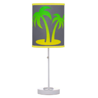 Palm Trees Gray Table Lamp