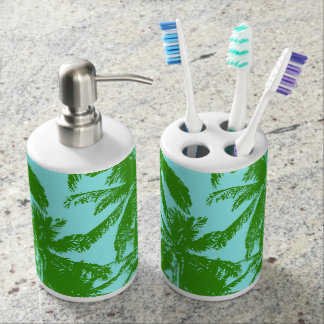 Palm Trees in a Posterised Design Bathroom Set
