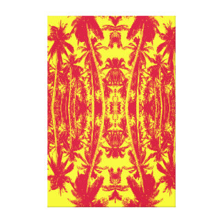 Palm Trees in Red and Yellow Canvas Print