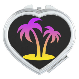 Palm Trees Island  Heart Compact Mirror