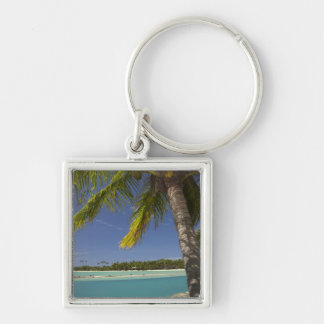 Palm trees & lagoon, Musket Cove Island Resort Silver-Colored Square Keychain