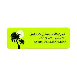 Palm Trees Lime Return Address Return Address Label
