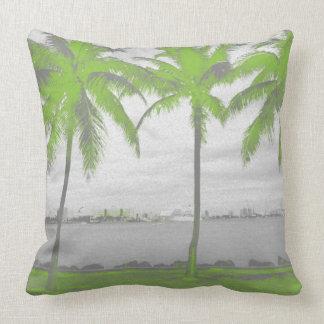 Palm Trees Miami, Florida Green Throw Pillow