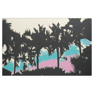 Palm Trees Modern Pink Yellow Blue Abstract Fabric