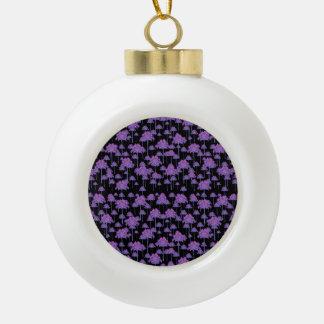Palm Trees Motif Pattern Ceramic Ball Ornament